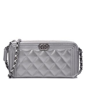 {CHANEL} Caviar Metallic Quilted Small Boy WOC